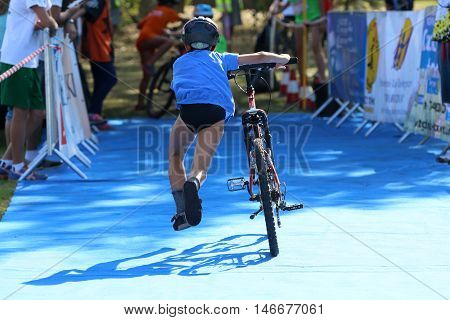 The boy, who has run the competition in triathlon