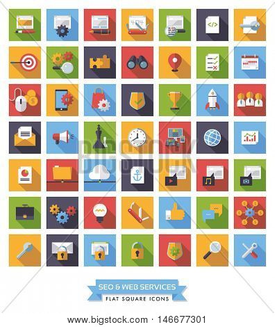 Collection of 49 flat design long shadow SEO and Web Services square icons
