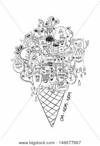 Psychedelic illustration with ice cream cone full of sketch funny crazy monsters. Halloween party menu concept. Creative adult coloring book page.