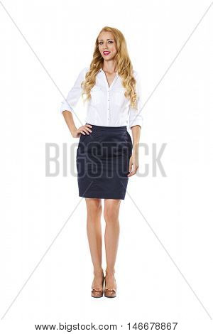 Young happy blonde woman in black skirt and white blouse, isolated on white background