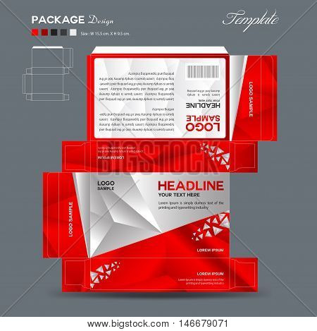 Supplements and Cosmetic box design, Package design, template, box outline,spa,cosmetics, beauty, business, package, polygon background, red  package ,vector illustration