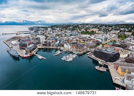 City Tromso, North Norway aerial photography. Tromso is considered the northernmost city in the world with a population above 50,000.