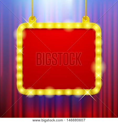 Shining party banner on red curtain background in blue light. Suspended glowing signboard. Square presentation artistic poster and placard. Vector illustration