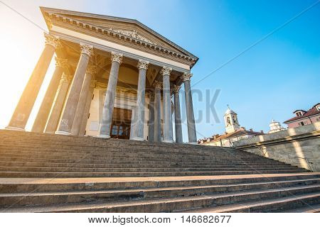 Facade of San Madre neoclassic church in Turin city in Piedmont region in Italy
