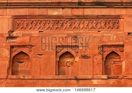 Intricate detail of the Ali Isa Khan tomb at the Humayuns tomb complex in Delhi, India