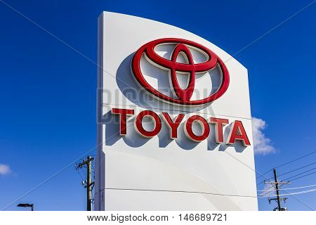 Indianapolis - Circa September 2016: Toyota Car and SUV Logo and Signage. Toyota is a Japanese Automaker Headquartered in Toyota Aichi Japan III