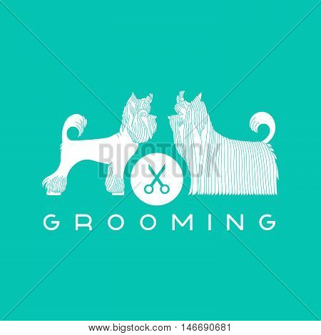 Vector dog beauty grooming illustration with Yorkshire Terriers. Vector dogt grooming logo. Dog groomer logo.