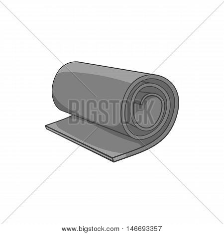 Yoga mat icon in black monochrome style isolated on white background. Sport symbol vector illustration