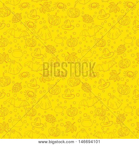 Halloween seamless pattern with spiders, witch cauldron, bat, ghost, pumpkin, leaves and bubbles on yellow background. Decoration for greeting card, poster, banner, flyer design. Vector illustration