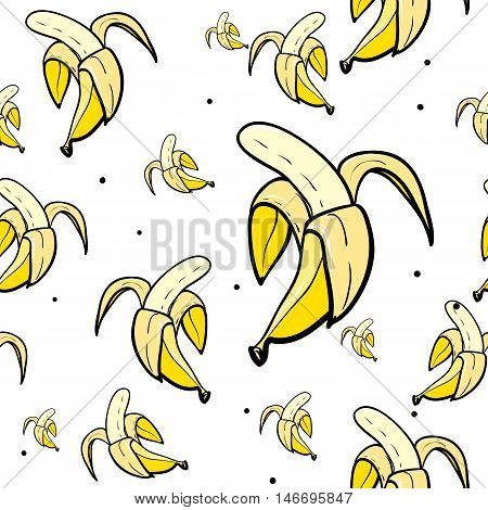 Vector seamless pattern with bananas. Hand drawn cute and fun fashion illustration sketch patches or stickers. Modern doodle pop art endless bananas design