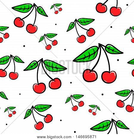 Vector seamless pattern with cherries. Hand drawn cute and fun fashion illustration sketch patches or stickers. Modern doodle pop art endless cherry design
