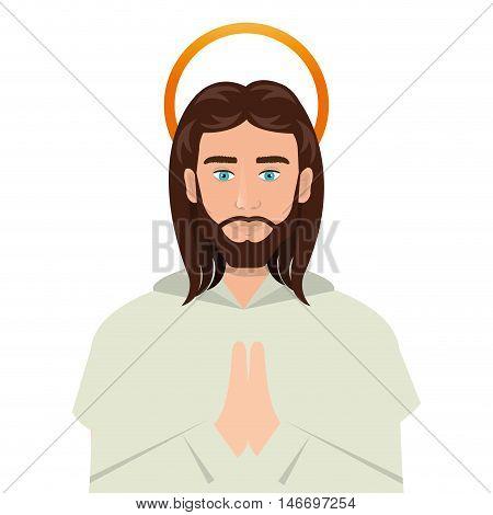 jesus christ man with halo cartoon. catholic religion. vector illustration