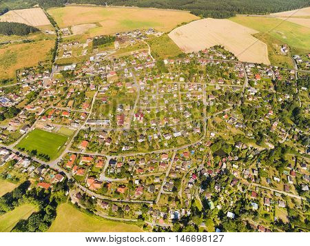 Aerial view of area for pleasant living in suburban district. Czech village from above.