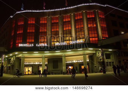 BELGIUM, BRUSSELS - SEPTEMBER 06, 2014: Night view of building in red backlights of Central Railway Station of Brussels from Carrefour de l'Europe square.