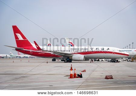 Shanghai, China - circa September 2016: A Shanghai Airlines aircraft landed in Shanghai Pudong Airport, China. Shanghai Airlines is a major regional airline in Asia with its headquarters in Shanghai.