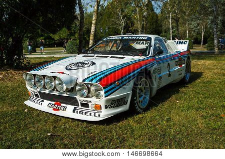 Mogliano VenetoItaly Sept 112016:Photo of a Lancia Rally 037 at meeting Top Selection 2016.The Lancia Rally 037 was rally car built by Lancia in the early 1980s to compete in the FIA Group B World Rally Championship.