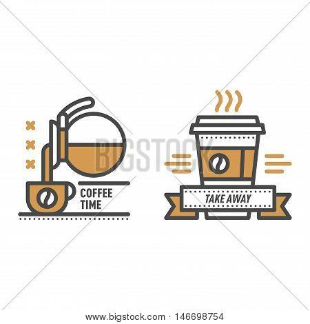 Label for restaurant coffee monogram logo design. Vector cafe sign coffee monogram and restaurant symbol coffee logo badge. Retro food drink coffee monogram business menu badge shop sticker icon.