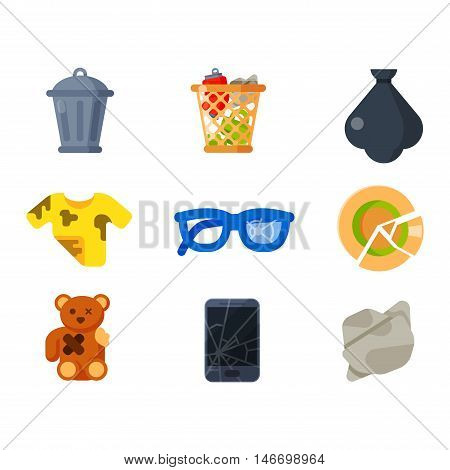 Vector drawings set of waste and garbage for recycling. Container reuse separation household waste garbage icons. Household waste garbage icons garbage trash rubbish recycling ecology environment.