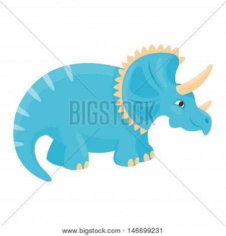 Dinosaur triceratops cartoon vector illustration. Cartoon dinosaurs cute monster funny animal and prehistoric character triceratops cartoon dinosaur. Cartoon comic fantasy triceratops dinosaur reptile