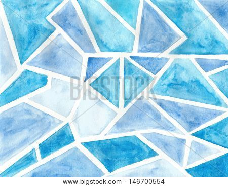 Watercolor illustrated pattern hand painted polygon shapes light blue cerulean blue aqua blue.