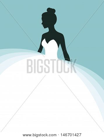 Beautiful woman in a wedding dress invitation or flyer template for the bride show Stock vector illustration
