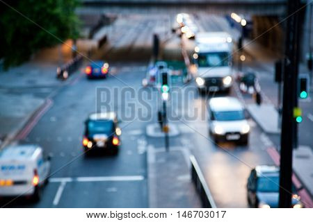Rush hour with defocused cars