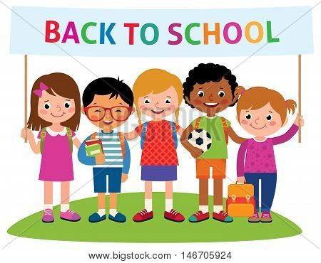 Group of happy cheerful children with backpacks holding a banner back to school Stock vector illustration