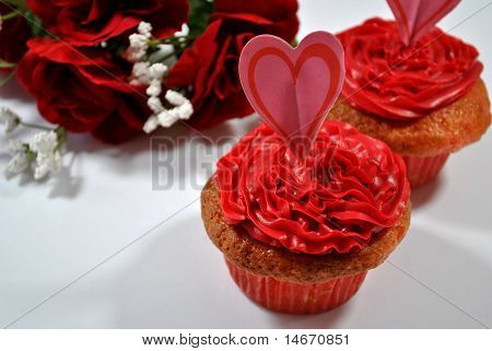 Strawberry Heart Cupcakes
