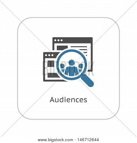 Audiences Icon. Business Concept. Flat Design Isolated Illustration. App Symbol or UI element. Laptop with online consultant session.