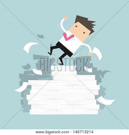Businessman falling of paper mountain vector illustration