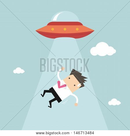 Business man abducted by UFO. vector illustration