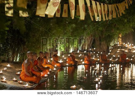 Chiang Mai, Thailand - May 20: Thai Buddhist Monks Meditate With Candle .lighting During The Religio