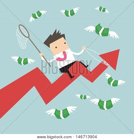 Businessman riding success arrow graph trying to catch money fly