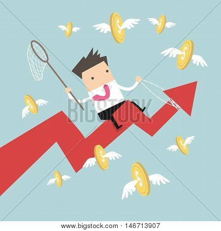 Businessman riding success arrow graph catch flying coins