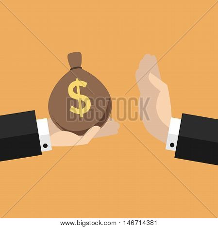 Businessman hand refusing the offered bribe money bag
