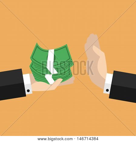 Businessman hand refusing the offered money vector