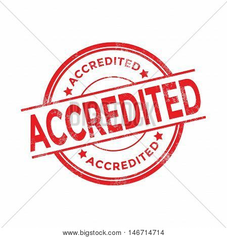 Accredited red stamp with rubber stamp icon isolated on white background