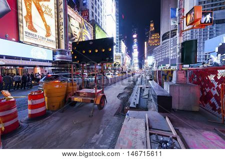 New York City, Usa - Oct 4 : Times Square Reconstruction Of The Road And Sidewalks. Taken On Manhatt