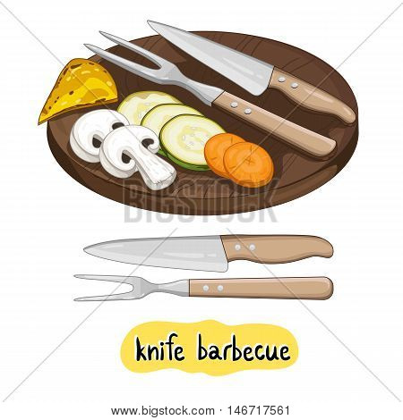 Barbecue knife. Vegetables ready for cooking in a barbecue isolated on white background vector illustration. Grilled vegetable icon. BBQ vegetable. Barbecue food concet. BBQ knife.