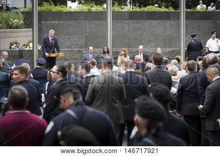 NEW YORK - SEPT 9 2016: New York Mayor Bill De Blasio speaks at the NYPD Emerald Society Pipe and Drums 9/11 Memorial Commemoration Service marking the 15th anniversary of the terror attacks.