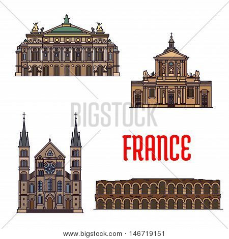 French travel sights of culture and architecture icon with linear roman amphitheatre Arena of Nimes, opera house Palais Garnier, Chapel of Sainte Ursule of Sorbonne University, Abbey of Saint-Remi