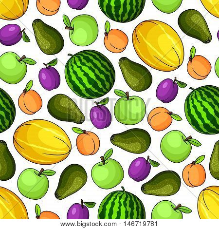 Sweet and fresh fruits background with seamless pattern of green apple, watermelon and avocado, juicy plum and peach, fragrant melon fruits. Healthy vegetarian dessert design