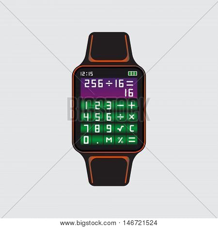 Smart watch logo with calculator application. Smart watch vector logo. Isolated smart watch symbol. Smart watch vector eps10 icon. Calculator vector sign.