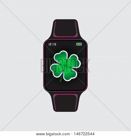 Black smart watch with green clover decor. Smart watch vector logo. Isolated smart watch sign. Smart watch vector eps10 icon.