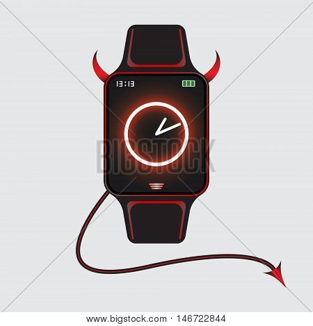 Illustration of black smart watch with red devil horns and tail decor. Smart watch vector logo. Isolated smart watch sign. Vector eps10 smart watch icon.