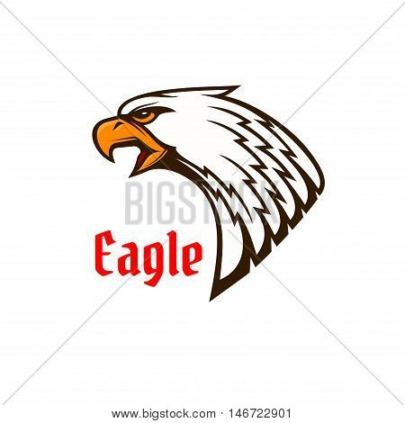 Eagle or hawk head mascot of screaming bird of prey with angry glance and open beak. Sporting club or team symbol, tattoo design