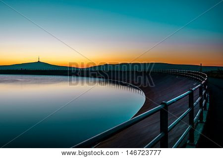 Sunrise over The highest mountain Praded of Czech mountains Jeseniky