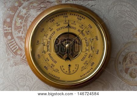 Barometer. (translation - A Storm, Rain, Wind, Alternately, Clear, Dry Atmospheric Pressure.)