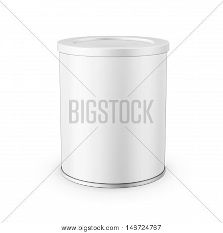 White tin can with plastic cap for baby powder milk, instant coffee, cereal etc. Vector illustration. Packaging collection.