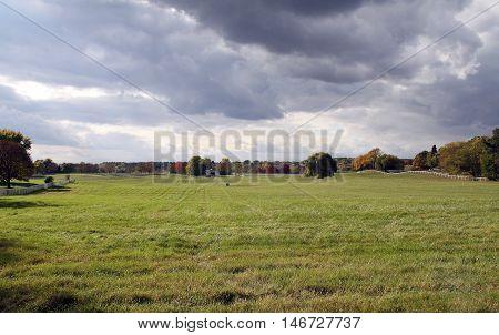 Beautiful vast plain in a cloudy day (enhanced sky)